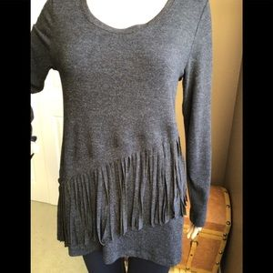 Soft Charcoal Fringed Top